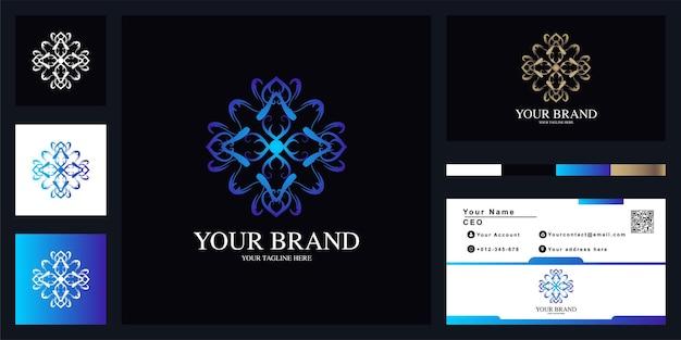 Conception De Modèle De Logo De Luxe Fleur Ou Ornement Avec Carte De Visite. Vecteur Premium