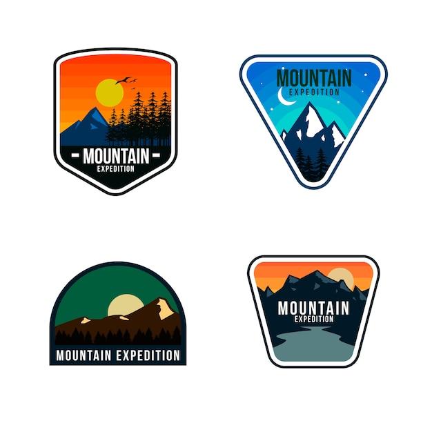 Conception De Modèle De Logo De Montagne Vecteur Premium