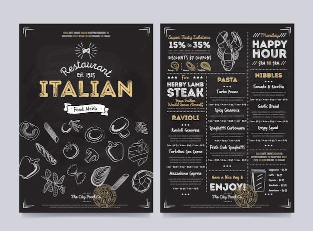 Conception de modèle de menu de café restaurant, vector Vecteur Premium