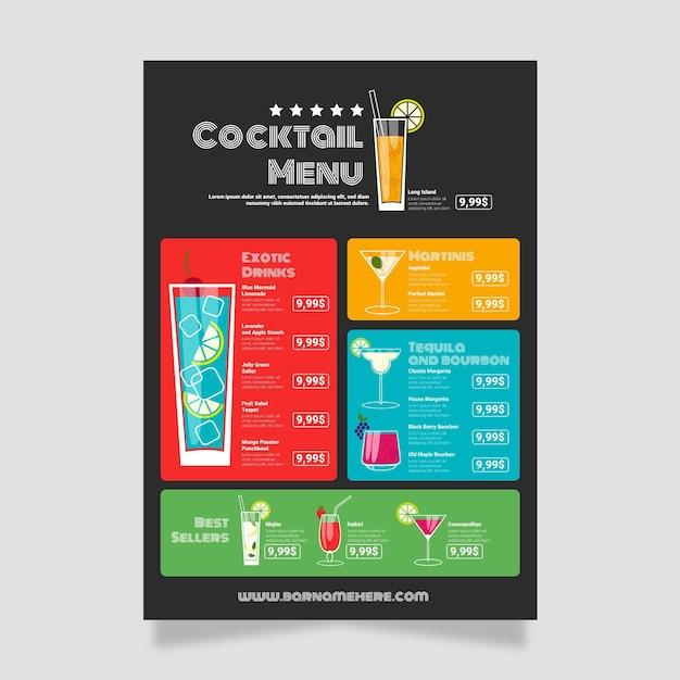 Conception De Modèle De Menu De Cocktail Vecteur gratuit