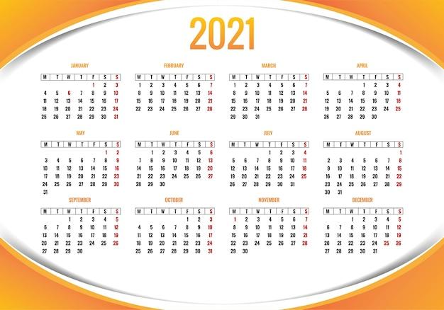 Conception De Modèle De Mise En Page De Calendrier Moderne 2021 Vecteur gratuit