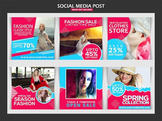 Conception de modèle de mode pour les médias sociaux de mode Vecteur Premium