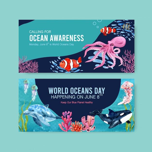 Conception De Modèle De Panneau D'affichage Pour Le Concept De La Journée Mondiale Des Océans Avec Aquarelle D'animaux Marins Vecteur gratuit