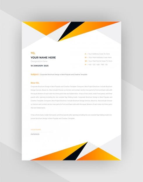 Conception De Modèle De Papier à En-tête Abstrait Jaune Et Noir. Vecteur gratuit