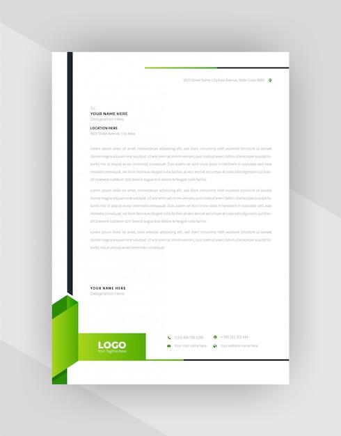 Conception De Modèle De Papier à En-tête Abstrait Vert Et Noir. Vecteur gratuit