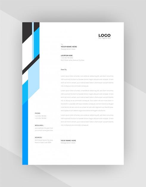 Conception De Modèle De Papier à En-tête Creative Couleur Cyan Et Noir. Vecteur gratuit