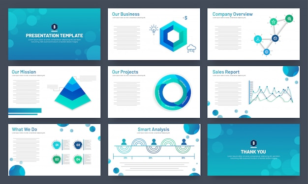 Conception de modèle de présentation d'entreprise avec des éléments infographiques Vecteur Premium