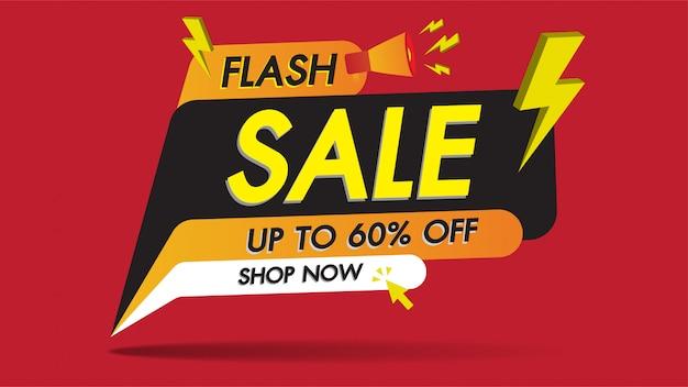 Conception de modèle de promotion de vente flash bannière sur rouge avec le tonnerre d'or Vecteur Premium