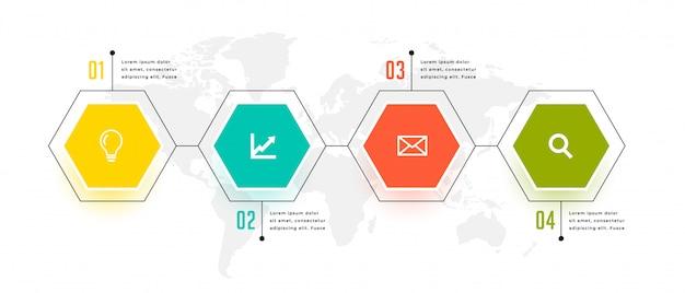 Conception De Modèle En Quatre étapes Infographique De Forme Hexagonale Vecteur gratuit