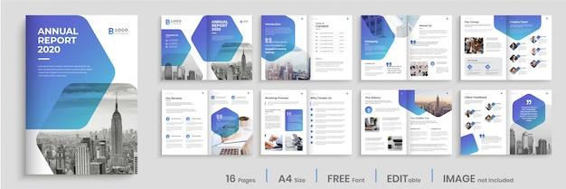 Conception De Modèle De Rapport Annuel Avec Des Formes De Dégradé Bleu Modernes Vecteur Premium