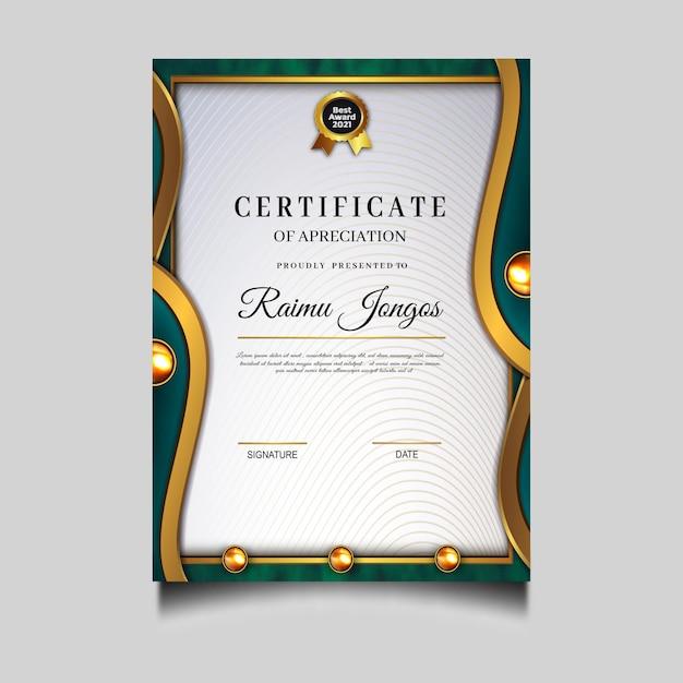 Conception De Modèle De Réussite De Certificat De Diplôme De Luxe Vecteur gratuit