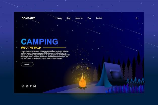 Conception de modèle de site web dans le concept de camping d'été Vecteur Premium