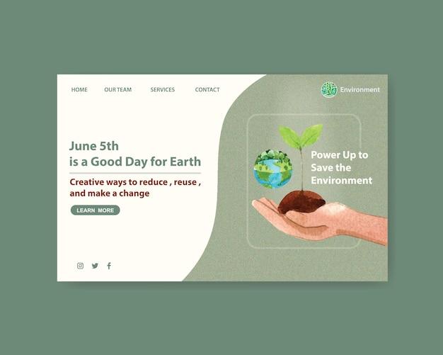 Conception De Modèle De Site Web Pour La Journée Mondiale De L'environnement. Vecteur gratuit