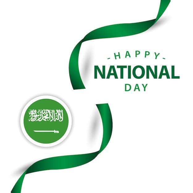 Conception de modèle de vecteur heureuse journée nationale de l'arabie saoudite Vecteur Premium