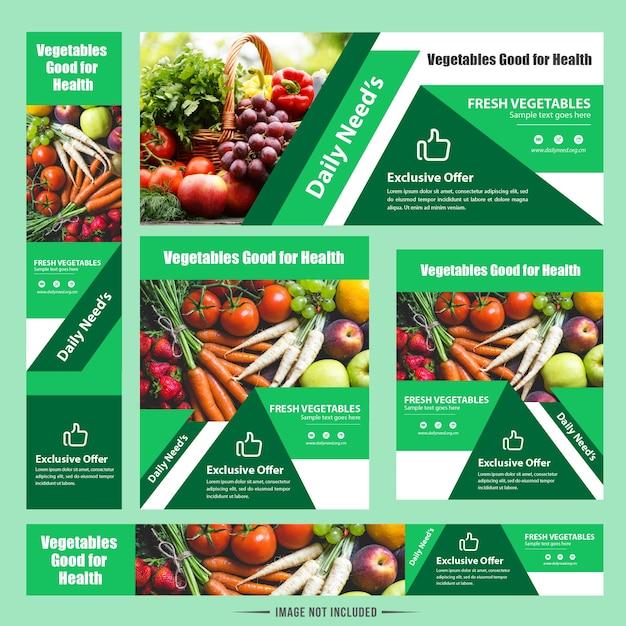 Conception Moderne De Bannière De Web De Légume De Nourriture Vecteur Premium