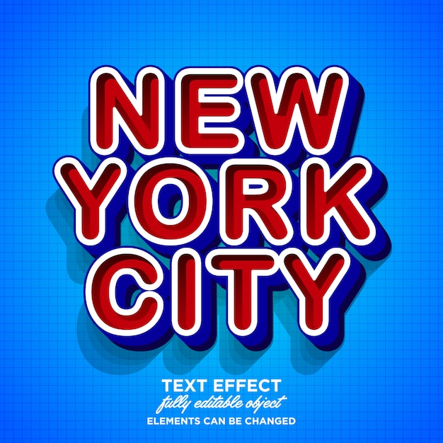 Conception moderne d'effet de texte de new york city Vecteur Premium