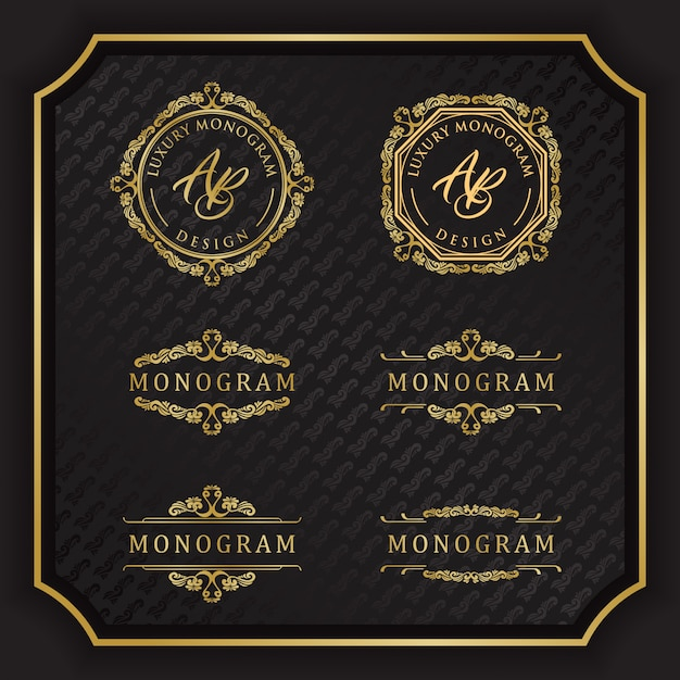 Conception de monogramme de luxe avec fond noir élégant Vecteur Premium