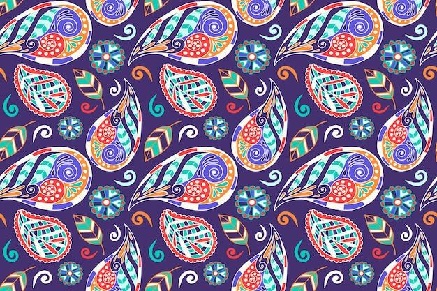 Conception De Motif Ethnique Paisley Coloré Vecteur Premium