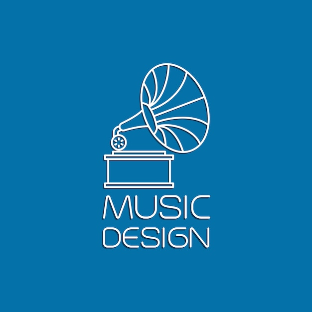 Conception musicale avec gramophone Vecteur Premium