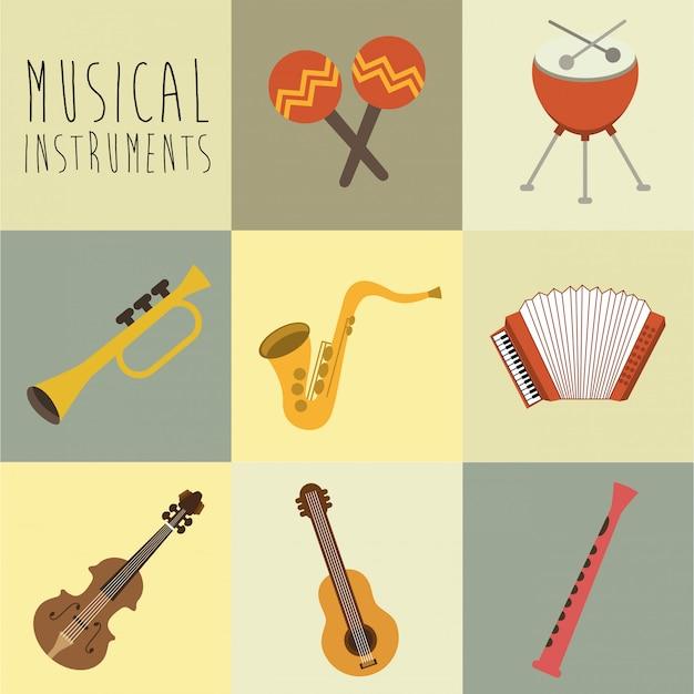 Conception musicale sur illustration vectorielle fond blanc Vecteur Premium
