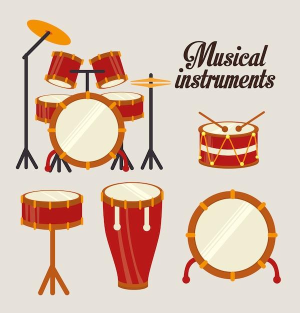 Conception de la musique au cours de l'illustration vectorielle fond blanc Vecteur Premium