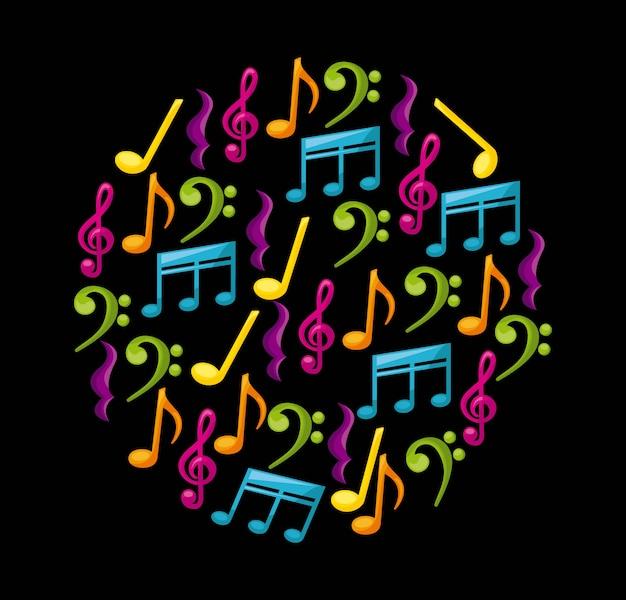 Conception de la musique au cours de l'illustration vectorielle fond noir Vecteur Premium