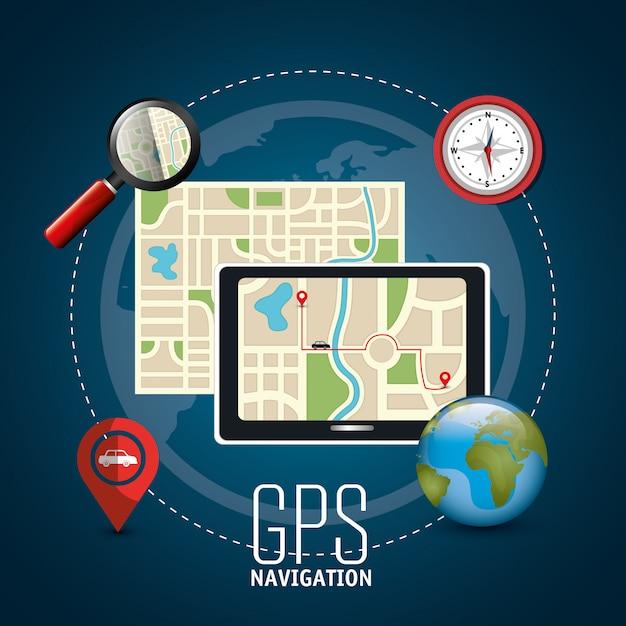 Conception de navigation gps Vecteur Premium