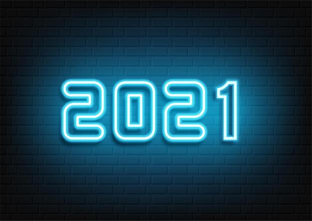 Conception De Néon De Bonne Année. Texte Néon 2021. Signe De Nouvel An Néon 2021. Illustration Vectorielle. Vecteur Premium