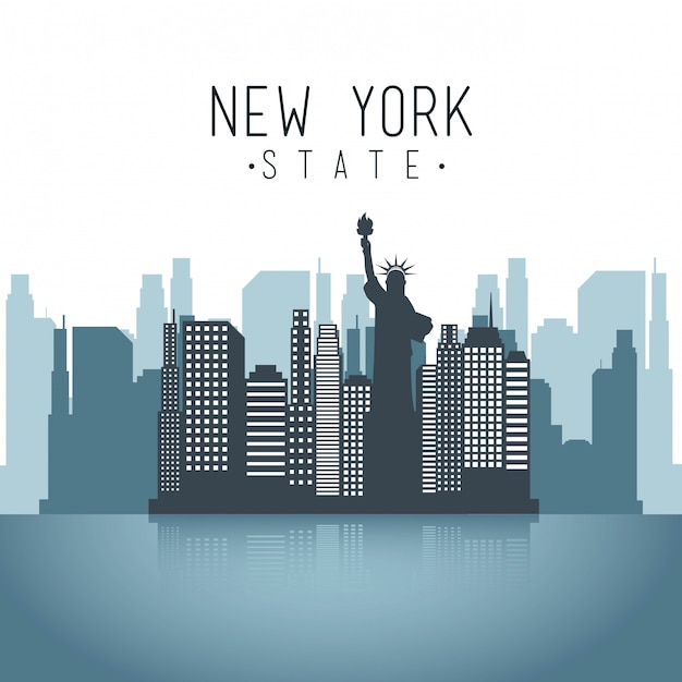 Conception de new york sur illustration vectorielle fond blanc Vecteur Premium