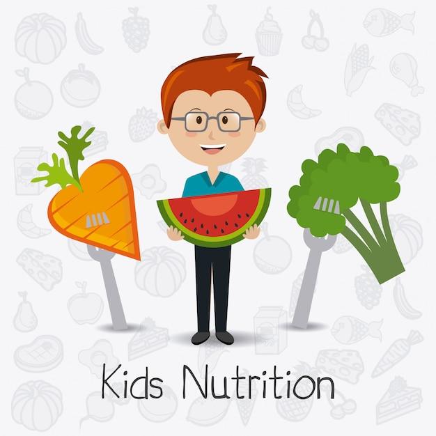 Conception de nourriture pour enfants. Vecteur Premium