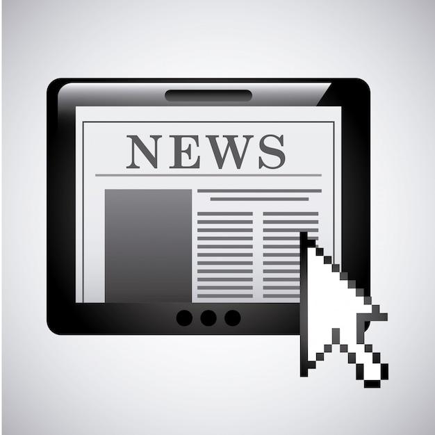 Conception de nouvelles sur l'illustration vectorielle fond gris Vecteur Premium