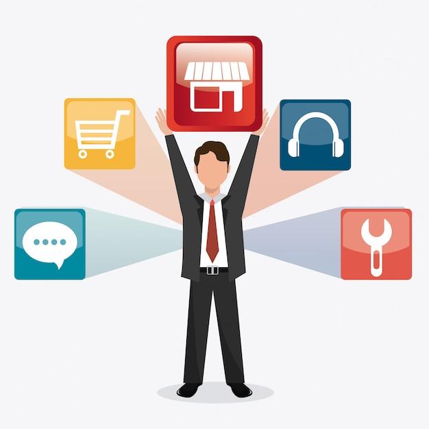 Conception numérique app store. Vecteur Premium