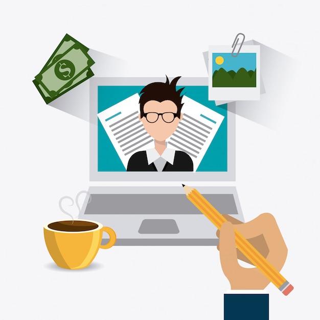 Conception numérique blogger. Vecteur Premium