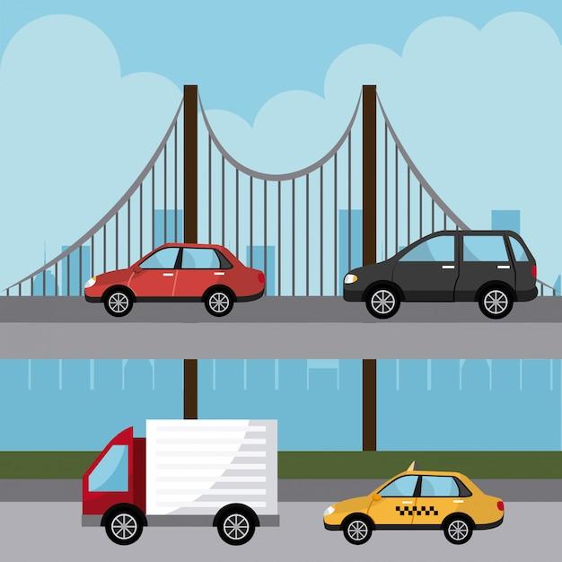 Conception numérique de transport. Vecteur Premium
