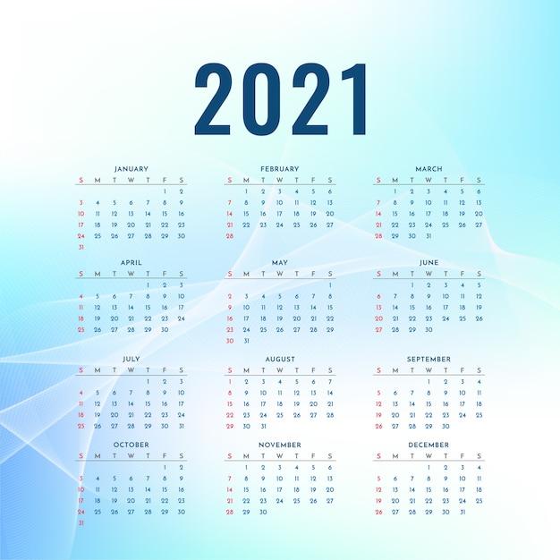 Conception Ondulée Bleue Du Calendrier Du Nouvel An 2021 Vecteur gratuit