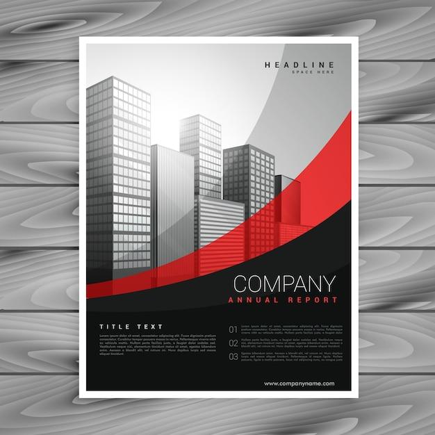 Conception Ondulée De Brochure D'entreprise Rouge Et Noir Vecteur gratuit