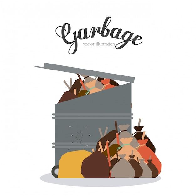 Conception des ordures, illustration vectorielle. Vecteur Premium