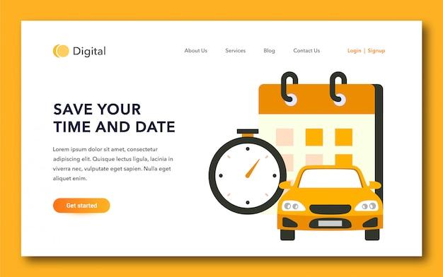 Conception d'une page d'atterrissage de service de taxi Vecteur Premium