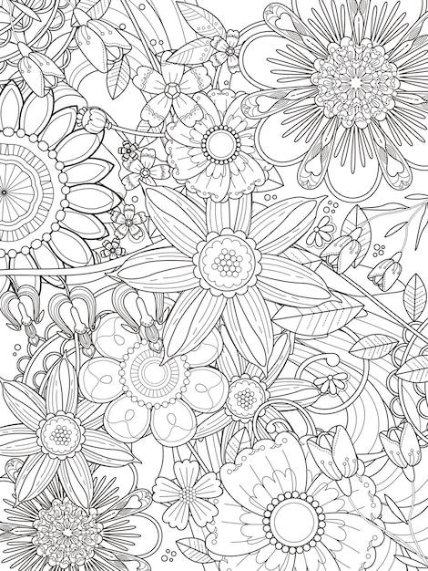 Conception De Page De Coloriage Floral Attrayant Dans Une Ligne Exquise Vecteur Premium