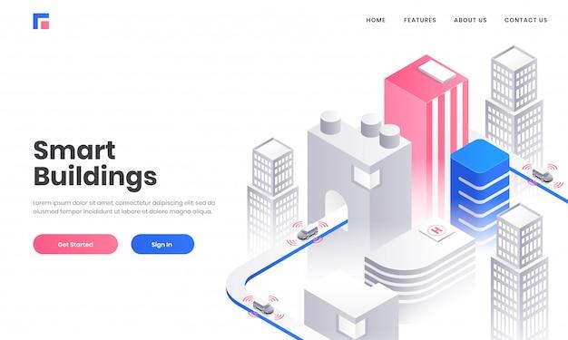 Conception de page de destination basée sur le concept de bâtiment intelligent avec illustration isométrique de bâtiments de gratte-ciel sur fond blanc. Vecteur Premium