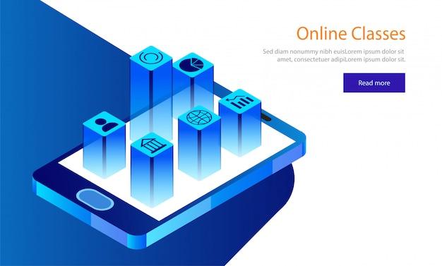 Conception de page de destination basée sur le concept e-learning. Vecteur Premium