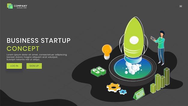 Conception d'une page de destination basée sur le concept d'entreprise en démarrage. Vecteur Premium