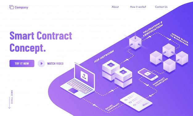 Conception d'une page de destination digital smart contract Vecteur Premium