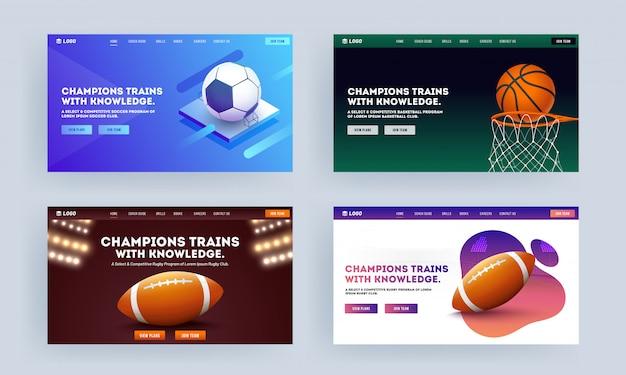 Conception de page de destination réactive avec objectif de basketball, de football et de ballon de rugby en quatre couleurs pour les trains champion avec connaissance. Vecteur Premium