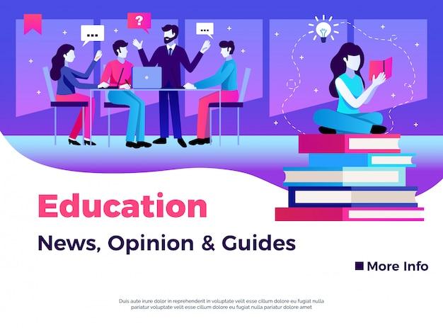 Conception De La Page De L'éducation Avec L'opinion De Nouvelles Et Guides Symboles Illustration Plate Vecteur gratuit