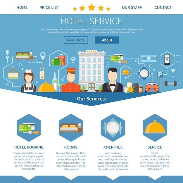 Conception de page de service d'hôtel Vecteur gratuit