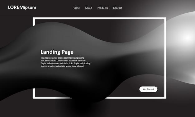 Conception de pages de destination pour sites web en noir et blanc Vecteur gratuit