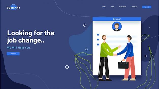 Conception de pages de renvoi avec cv à des hommes d'affaires se serrant la main lors de la recherche du changement d'emploi. Vecteur Premium