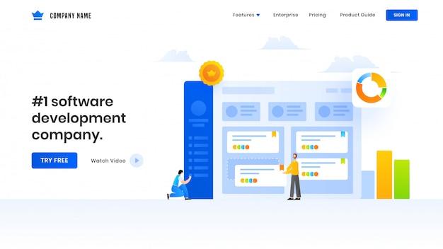 Conception de pages de renvoi avec illustration d'hommes d'affaires gérant le site web ou les données d'analyse d'analyste pour une société de développement de logiciels. Vecteur Premium