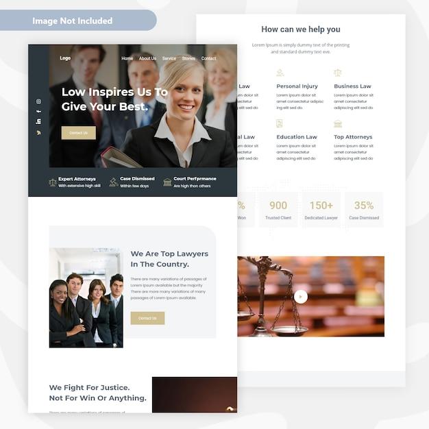 Conception de pages de renvoi pour cabinets d'avocats Vecteur Premium